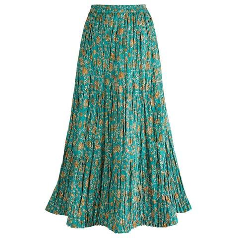 Women's Long Reversible Peasant Skirt - Boho Floral Green/Gold Cotton Maxi Skirt
