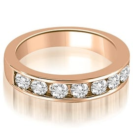 0.96 cttw. 14K Rose Gold Classic Channel Set Round Cut Diamond Wedding Ring