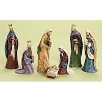 7- Piece Traditional Nativity with Scroll Work Christmas Table Top Figure Set 8.5""