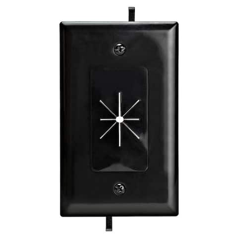 DataComm 45-0014-BK One-Gang Low-Voltage Cable Plate With Flexible Opening - Black