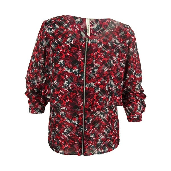 NY Collection Women's Long Sleeve Tiered Floral Print Top - Multi - 2X
