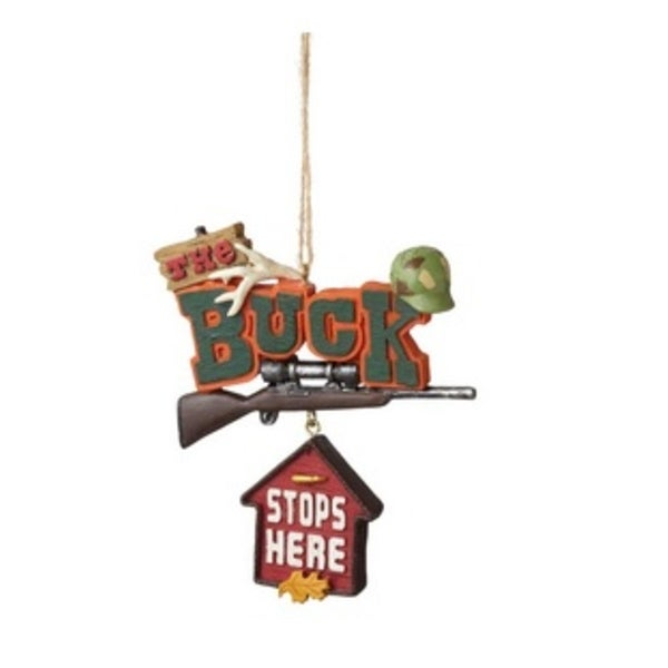 """3.5"""" Funny """"The Buck Stops Here"""" Quote Plaque Christmas Ornament - multi"""