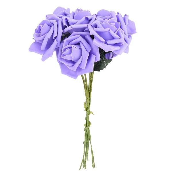 Bridal Wedding Foam Rose Buds Handhold Artificial Flower Blossom Purple 10pcs