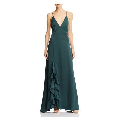 KEEPSAKE Green Spaghetti Strap Full-Length Dress L