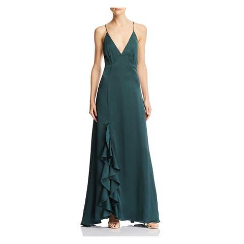 KEEPSAKE Green Spaghetti Strap Full-Length Dress M