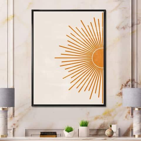 Designart 'Orange Sun Print I' Modern Framed Canvas Wall Art Print