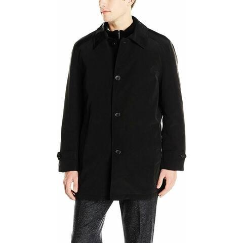 Kenneth Cole Mens Coat Black Size Large L Raven Single Button Zip