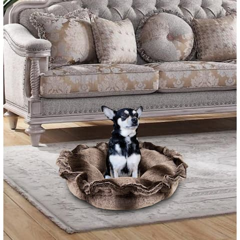 """Bessie and Barnie Ultra Plush Frosted Glacier Luxury Deluxe Dog / Pet Cuddle Pod Bed - 30"""""""