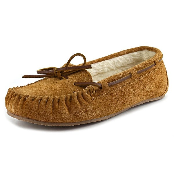 Minnetonka Junior Trapper Women Suede Tan Moccasins