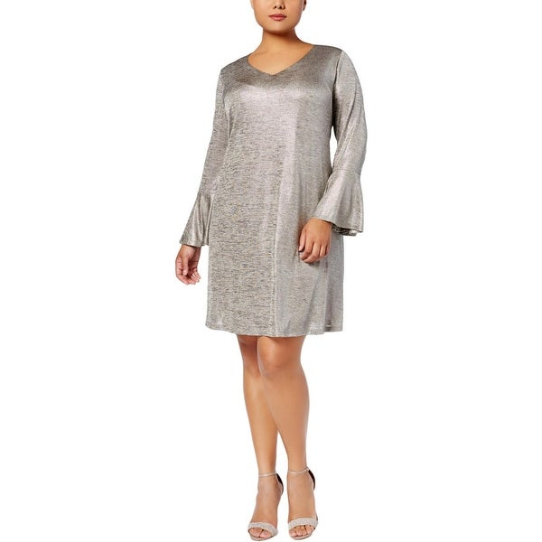 Connected Apparel Womens Plus Cocktail Dress Metallic Knee Length