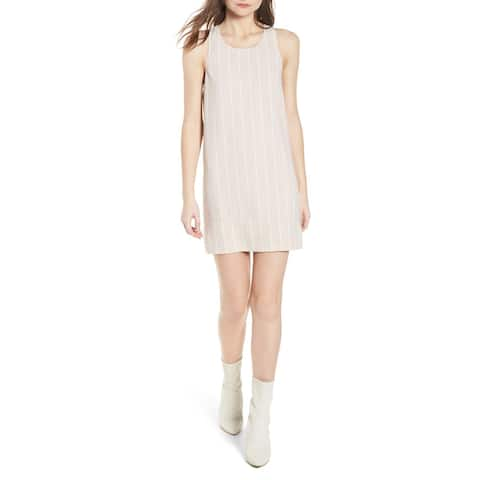 Leith White Womens Striped Scoop-Neck Shift Dress