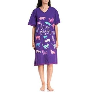 Hatley Women's Feline Groovy Sleepshirt - Purple/One Size