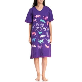 Hatley Women's Feline Groovy Cat Cotton Sleepshirt