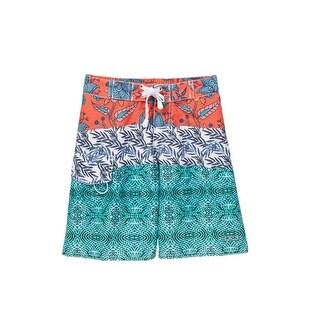 Azul Boys Red Blue Green Printed Swim Shorts