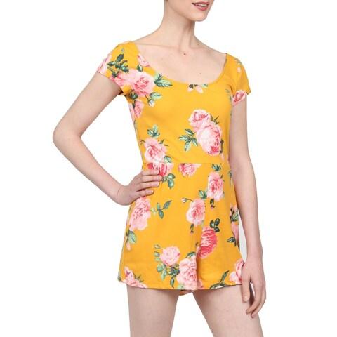 NE PEOPLE Women's Comfy Floral Printed Scoop Neck Short Sleeve Shorts Spandex Romper