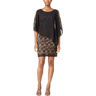 Connected Apparel Womens Cocktail Dress Lace Overlay Pullover