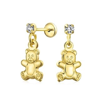 Teddy Bear Girls Dangle Earrings CZ Solitaire Stud 18K Gold Plated Brass Safety Back