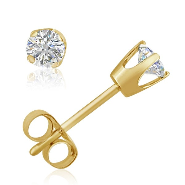 Amanda Rose AGS Certified 1/4ct tw Round Diamond Stud Earrings in 14K Yellow Gold