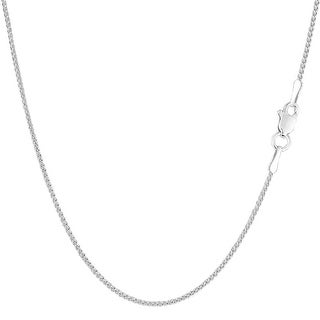 Mcs Jewelry Inc  14 KARAT WHITE GOLD ROUND DIAMOND CUT WHEAT CHAIN NECKLACE (1.2MM)