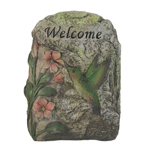 "9.5"" Brown and Green LED Lighted Solar Power Hummingbird Outdoor Garden Stone"