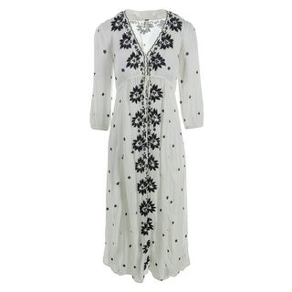 Free People Womens Embroidered 3/4 Sleeves Casual Dress