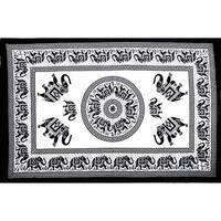 Handmade 100% Cotton Mandala Elephant Tapestry Tablecloth Coverlet Bedspread Beach Sheet Dorm Decor 60x90 White Black Twin