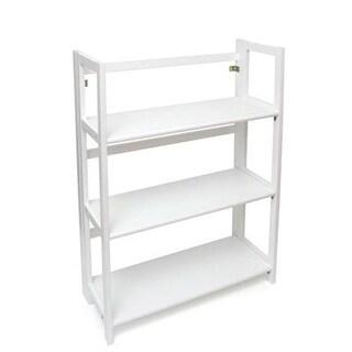 Lipper 3 Shelf Folding Bookcase, White Finish