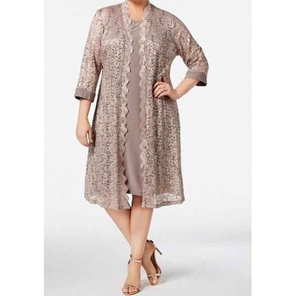 58d93061 Shop R&M Richards Beige Women's Size 18W Plus Sequin Lace Sheath Dress -  Free Shipping Today - Overstock - 27369255