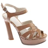 Kenneth Cole New York Women's Nealie Platform Heeled Sandal Dark Nude Vernice Patent Leather