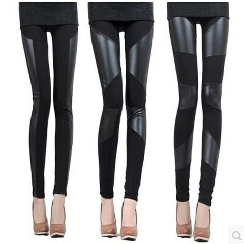 Best Choice Fashion Womens Hot Stretch Black Faux Leather Splicing Tights Legging Pants Attractive Design