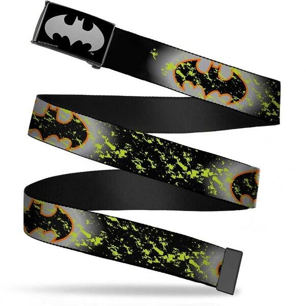 Batman Reverse Brushed Silver Cam Bat Signal 1 Glow Weathered Black Web Belt