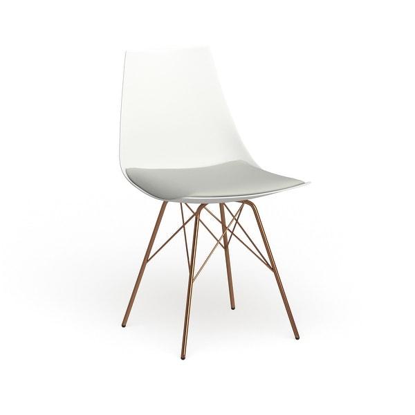 Carson Carrington Huskvarna Faux Leather Mid-century Bucket Chair with Gold Chrome Base