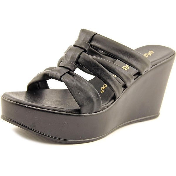 Athena Alexander Samba Women  Open Toe Synthetic Black Platform Sandal