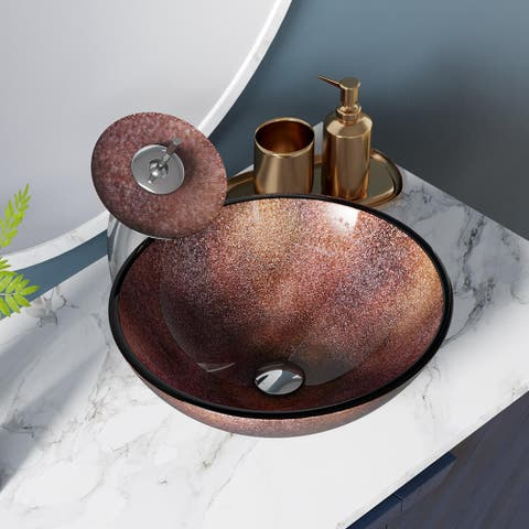 614 Frosted Glass Sink, with Chrome Faucet, Sink Ring, and Pop-up Drain