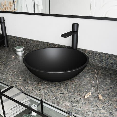 VIGO Black Cavalli MatteShell Vessel Bathroom Sink and Gotham Faucet in Matte Black