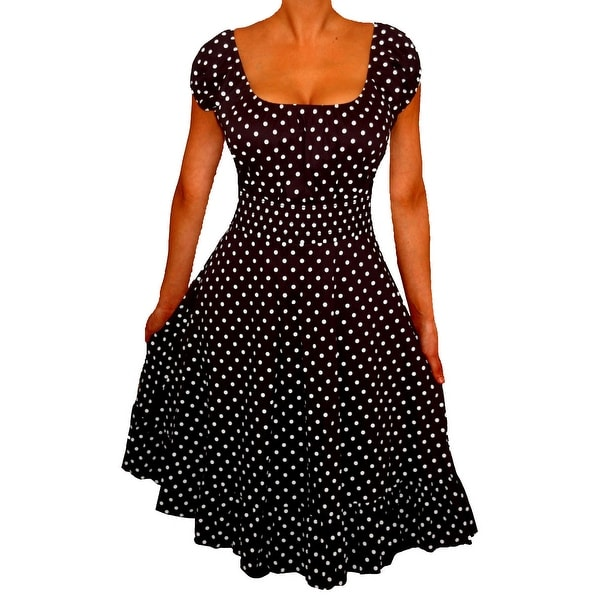 Funfash Plus Size Black Polka Dots Rockabilly Retro Womens Cocktail Dress