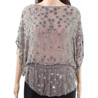 Parker NEW Taupe Brown Women's Size Small S Sequined Silk Blouse