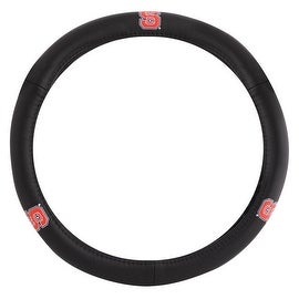 Pilot Automotive Black Leather North Carolina State Wolfpack Car Auto Steering Wheel Cover