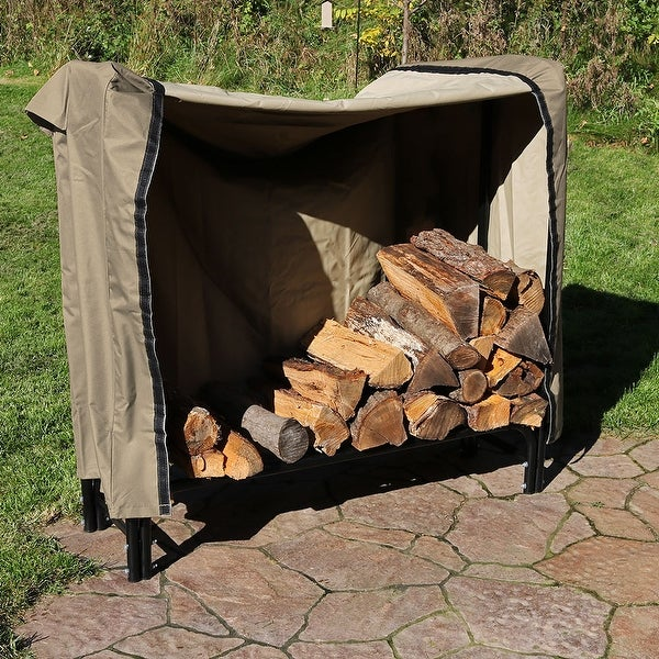 Sunnydaze Black Steel Firewood Storage Log Rack With Khaki Cover 4 Foot