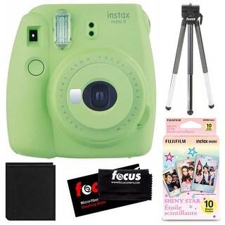 Fujifilm Instax Mini 9 (Lime Green) w/ Shiny Star Film (1-PK) Essentials Bundle