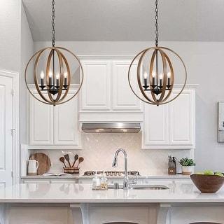 "Link to Farmhouse 4-lights Foyer Pendant Lighting Faux wood Chandelier - W 20""x H 22"" Similar Items in Chandeliers"