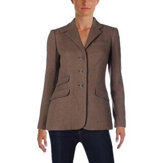 Lauren Ralph Lauren Womens Helaine Three-Button Blazer Wool Herringbone