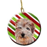 Norfolk Terrier Candy Cane Christmas Ceramic Ornament