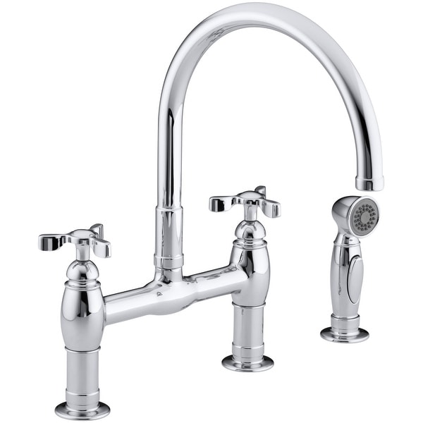 Kohler K-6131-3 Parq deck-mount bridge faucet with spray