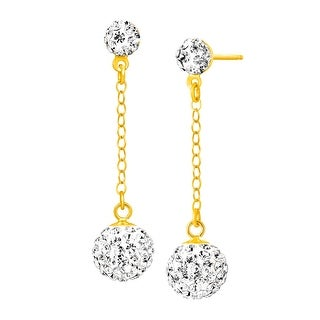 Crystaluxe Ball Drop Earrings with Swarovski Crystals in 14K Gold