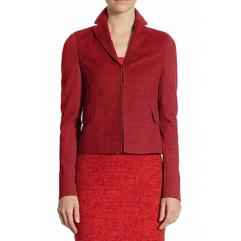 Akris Red Notched Collar Women's 8 Two-Pocket Wool Blazer Jacket