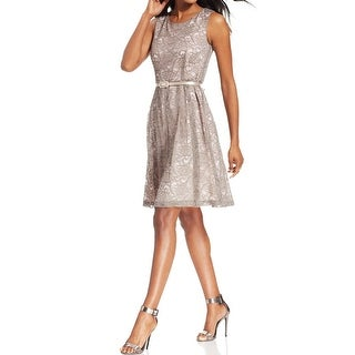 Connected Apparel NEW Beige Sky Womens Size 8 Pleated Lace Belted Dress