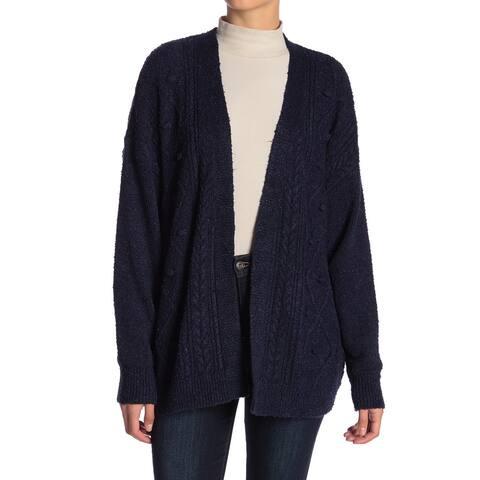 14th & Union Blue Soft Fleece Women's Large L Cardigan Sweater