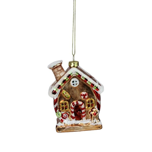 """3.75"""" Gingerbread Kisses Glittered Glass House Christmas Ornament - brown"""