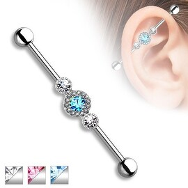 Three CZ Centered Multi Paved Circle 316L Surgical Steel Industrial Barbell (Sold Individually)